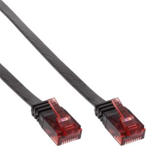 InLine Patchkabel flach, U/UTP, Cat.6, schwarz, 15m
