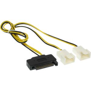 InLine SATA Strom-Y-Kabel, SATA Buchse an 2x Lüfter...