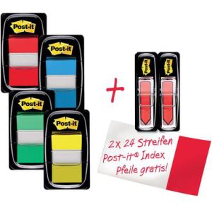 Post-it Haftstreifen Index, 25,4x43,2mm, gelb, blau, rot,...