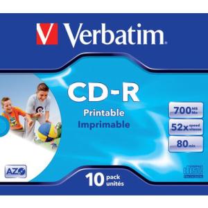 Verbatim CD-R 80 Min./700 MB printable, Jewelcase, 52-fach