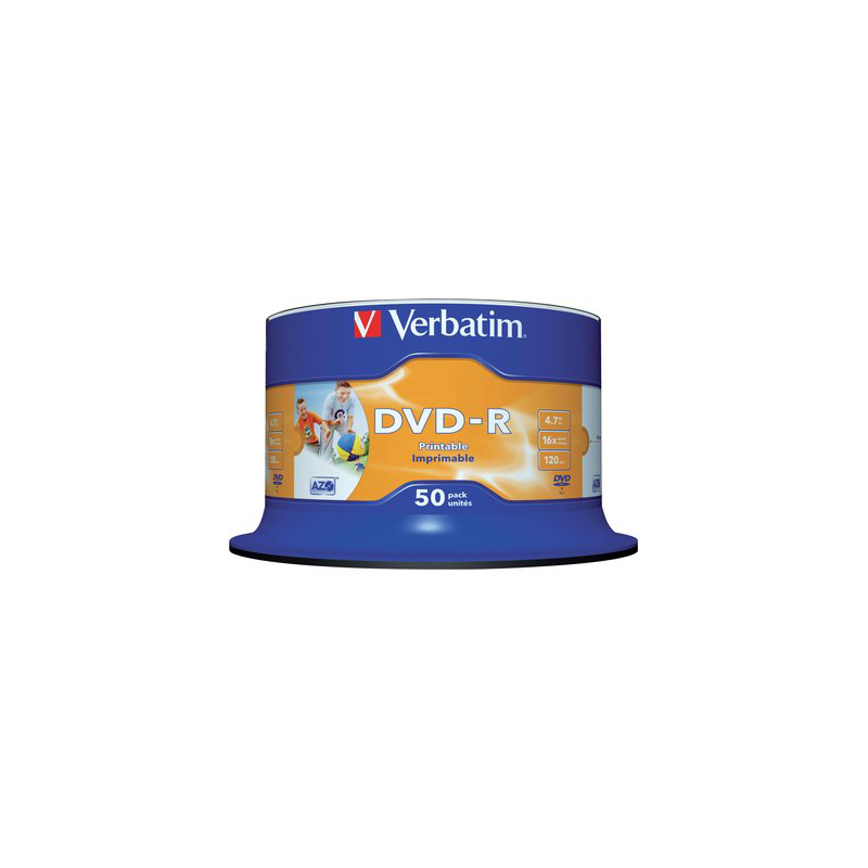 Verbatim DVD Recordable DVD-R 4,7 GB printable, 16-fach, Spindel, PG=50ST