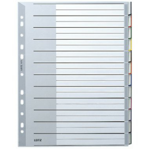 Leitz Register - DIN A4 - blanko - Kunststoff - grau - 12...