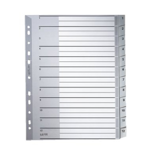 Leitz Zahlenregister - DIN A4+ - 1-12 - Kunststoff - grau...