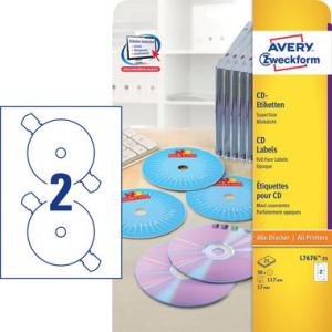 Avery Zweckform CD-Etiketten SuperSize, für f....