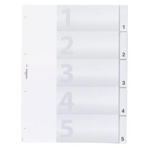 Durable Register blanko Kunststoff, 5 Blatt, A4 volle...