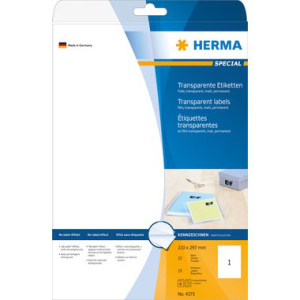 Herma 4375 SPECIAL Folienetiketten - DIN A4 - transparent...