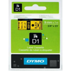 Dymo D1-Schriftband 9mm breit, 7m lang, black auf yellow