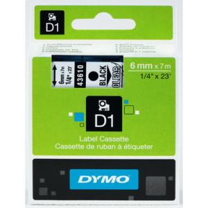 Dymo D1-Schriftband 6mm breit, 7m lang, black auf...