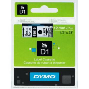 Dymo D1-Schriftband 12mm breit, 7m lang, black auf...