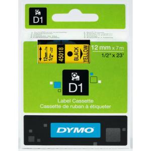 Dymo D1-Schriftband 12mm breit, 7m lang, black auf yellow
