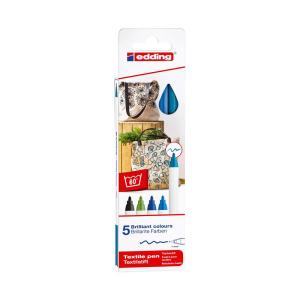 edding 4600 Textilstift - 1 mm - 5er Set - cool colours