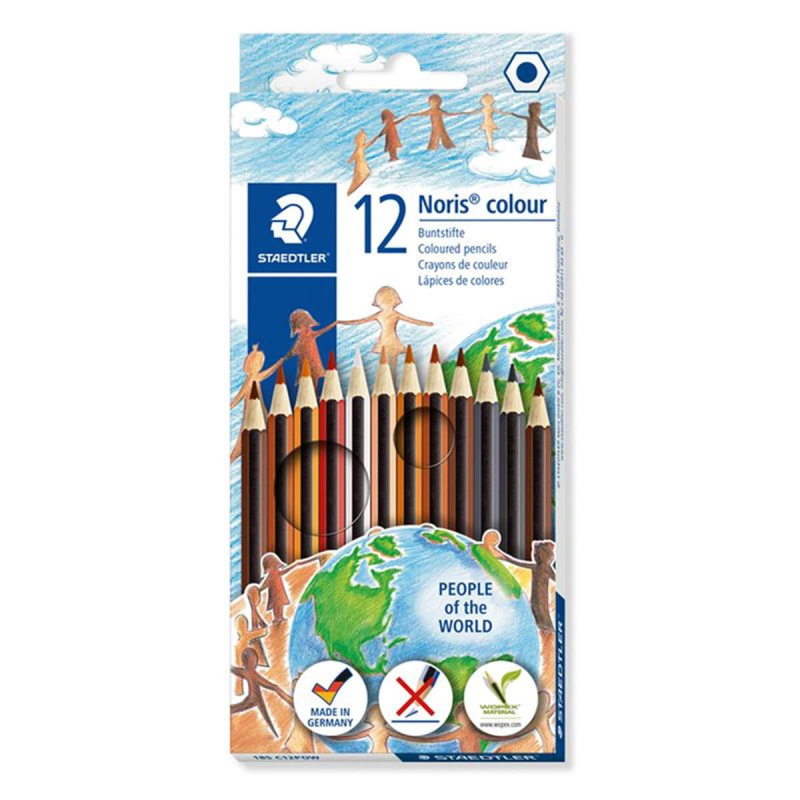 Staedtler Farbstift Noris® colour, ca. 3 mm, Kartonetui mit 12 Farben sortiert People of the World