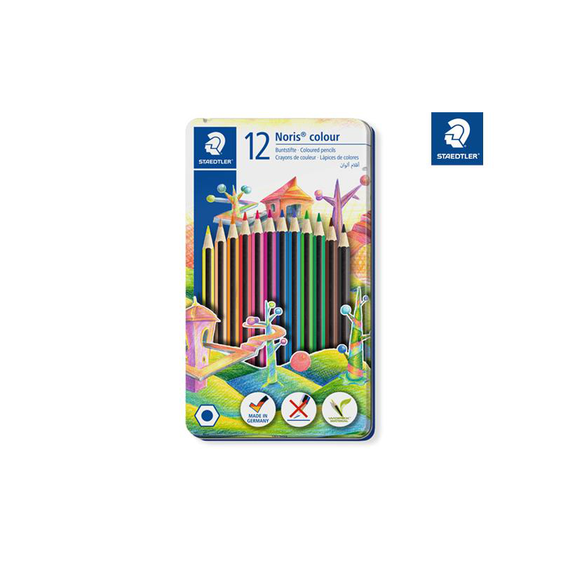 Staedtler Farbstift @Staedtler Noris® colour, ca. 3 mm, Metalletui mit 12 Farben
