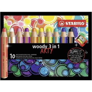 STABILO woody Arty 3 in 1 Buntstift - 10er Set + Spitzer...