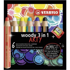 STABILO woody Arty 3 in 1 Buntstift - 6er Set + Pinsel...