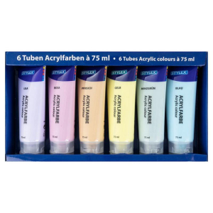 Stylex Acrylfarbe - pastell - 6 Tuben à 75 ml