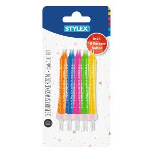 Stylex Kerzen - Aufdruck Happy Birthday - farbig - 10...