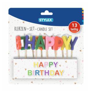Stylex Buchstaben-Kerzen - Happy Birthday - farbig -...