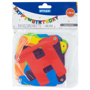 Stylex Girlande - Happy Birthday - farbig - 1,50 m