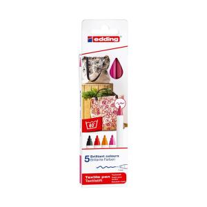 edding 4600 Textilstift - 1 mm - 5er Set - warm colours