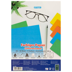 Stylex Farbiges Papier - DIN A4 - Intensivfarben - 40 Blatt