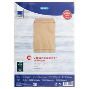 Stylex Versandtaschen - DIN C4 - braun - 10 Stück