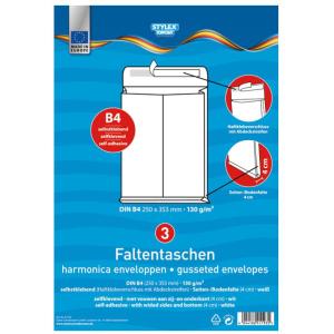 Stylex Falten-Versandtaschen - DIN B4 weiß - 3...