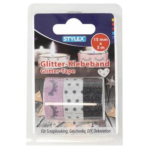 Stylex Deko-Klebeband - Glitter - 3 Rollen - 15 mm x 3 m...