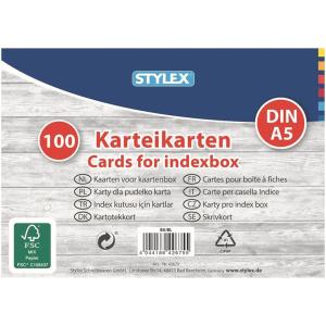 Stylex Karteikarten - DIN A5 - liniert - 100Stück