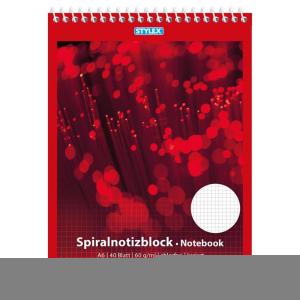 Stylex Spiral-Notizblock - DIN A6 - kariert - 40 Blatt