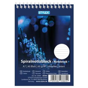 Stylex Spiral-Notizblock - DIN A7 - liniert - 40 Blatt
