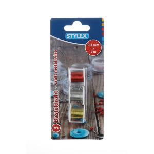 Stylex Basteldraht - 0,3 mm x 2 m - 3 Rollen -...