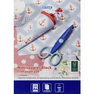 Stylex Designpapier - DIN A4 - 24 Blatt - 12 Motive