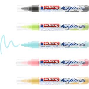 edding 5100 - Acrylmarker - medium - 5er-Set - pastell